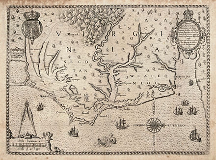Map of the coast of Virginia and North Carolina, drawn 1585-1586 by Theodor de Bry, based on map by John White of the Roanoke Colony The Carte of all the Coast of Virginia by Theodor de Bry 1585 1586.jpg