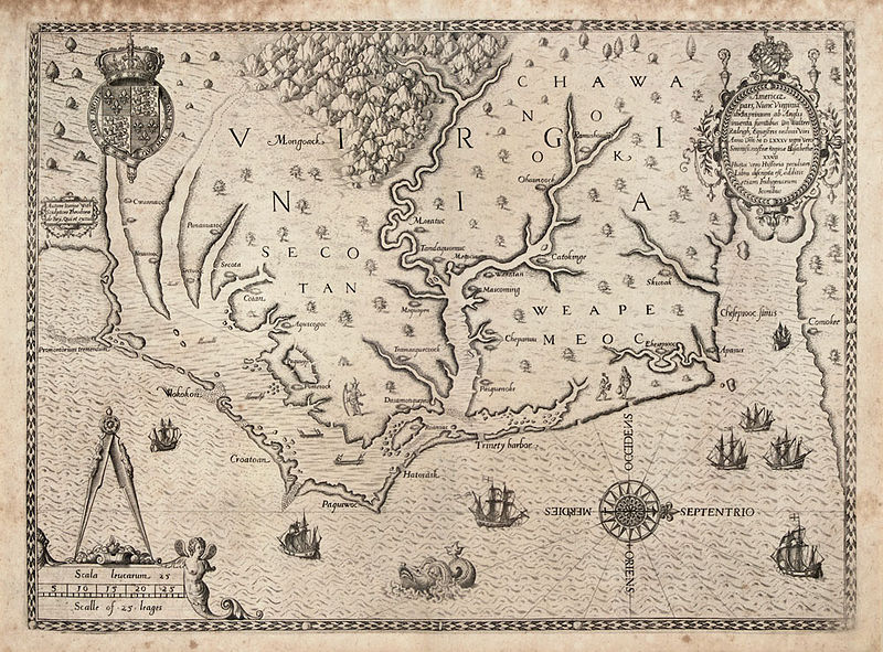 File:The Carte of all the Coast of Virginia by Theodor de Bry 1585 1586.jpg