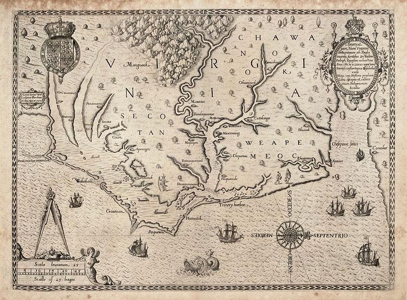 File:The Carte of all the Coast of Virginia by Theodor de Bry 1585 1586.jpg