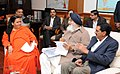 The Chief Minister of Punjab, Shri Parkash Singh Badal calling on the Union Minister for Water Resources, River Development and Ganga Rejuvenation, Sushri Uma Bharti, in New Delhi on December 07, 2015.jpg