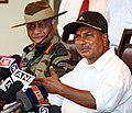 The Defence Minister, Shri A. K. Antony addresses a press conference at Jaisalmer during his visit to Rajasthan on May 02, 2011.jpg