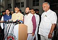 The Minister of State for Environment, Forest and Climate Change (Independent Charge), Shri Prakash Javadekar giving press statement after meeting with the Chief Minister of Andhra Pradesh, Shri N. Chandra Babu Naidu.jpg