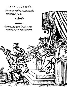 "Woodcuts (1545) known as the Papstspotbilder or Depictions of the Papacy in English, by Lucas Cranach, commissioned by Martin Luther. Title: Kissing the Pope's Feet. German peasants respond to a papal bull of Pope Paul III. Caption reads: ""Don't frighten us Pope, with your ban, and don't be such a furious man. Otherwise we shall turn around and show you our rears."" The Papal Belvedere.jpg"