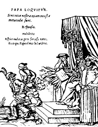 "Anti-Catholicism - From a series of woodcuts (1545) usually referred to as the Papstspotbilder or Papstspottbilder, by Lucas Cranach, commissioned by Martin Luther. ""Kissing the Pope's feet""; German peasants respond to a papal bull of Pope Paul III. Caption reads: ""Don't frighten us Pope, with your ban, and don't be such a furious man. Otherwise we shall turn around and show you our rears""."