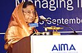 The President, Smt. Pratibha Devisingh Patil delivering the inaugural address, at the 37th National Management Convention (NMC-2010) of All India Management Association (AIMA), in Kolkata on September 22, 2010.jpg
