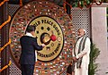 The Prime Minister, Shri Narendra Modi along with the President of the Republic of South Korea, Mr. Moon Jae-in visit the World Peace Gong, at the Gandhi Smriti, in New Delhi on July 09, 2018 (1).JPG