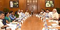The Prime Minister, Shri Narendra Modi chairing a high level meeting on drought and water scarcity with the Chief Minister of Gujarat, Smt. Anandiben Patel, in New Delhi on May 16, 2016.jpg
