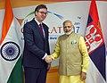 The Prime Minister, Shri Narendra Modi holding 2nd bilateral meeting with the Prime Minister of Serbia, Mr. Aleksandar Vucic, on the sidelines of the Vibrant Gujarat Global Summit 2017, in Gandhinagar, Gujarat.jpg