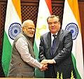 The Prime Minister, Shri Narendra Modi shaking hands with the President of Tajikistan, Mr. Emomali Rahmon after the Joint Press Briefing, at Qasr-e-Millat, in Dushanbe, Tajikistan on July 13, 2015 (1).jpg