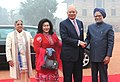 The Prime Minister of Malaysia, Dato' Sri Mohd Najib Tun Abdul Razak and his wife Datin Sri Rosmah Mansor being received by the Prime Minister, Dr. Manmohan Singh and his wife Smt. Gursharan Kaur, at a ceremonial reception (1).jpg