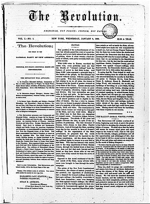 The Revolution (newspaper) - First issue of The Revolution, January 8, 1868.