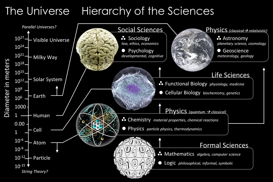 The scale of the Universe mapped to branches of science and showing how one system is built atop the next through the hierarchy of the sciences. The Scientific Universe.png