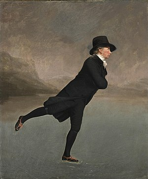 Ice skating - The Skating Minister by Henry Raeburn, depicts a member of the Edinburgh Skating Club in the 1790s.