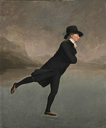 The Skating Minister by Henry Raeburn, depicting a member of the Edinburgh Skating Club in the 1790s The Skating Minister.jpg