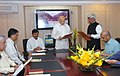 The Union Power Minister, Shri Sushilkumar Shinde administering the oath of Office and Secrecy to Shri M. Deena Dayalan as Member, Central Electricity Regulatory Commission, in New Delhi on March 04, 2010 (1).jpg
