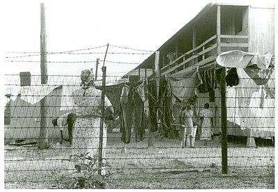 The barbed-wire enclosed camp for migratory workers at the Cannon Company of Bridgeville, Delaware.jpg