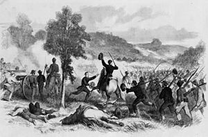 1st Iowa Volunteer Infantry Regiment - The charge of the First Iowa Regiment, with General Lyon at its head at the Battle of Wilson's Creek