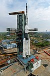 The fully integrated GSLV-Mk III D1 carrying GSAT-19 at the Second Launch Pad - side view.jpg