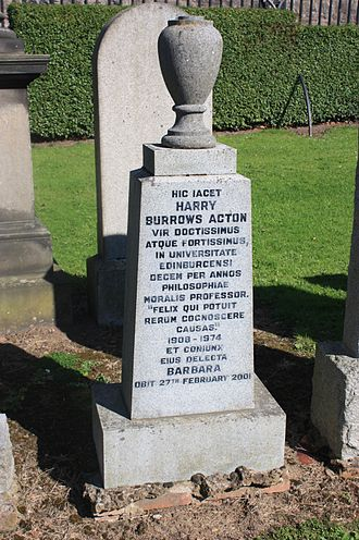 H. B. Acton - The grave of H B Acton, Grange Cemetery, Edinburgh