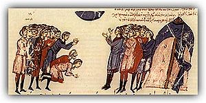 300px The leader of the Bulgarians along with his people praying for the famine to go away the Chronicle of John Skylitzes Christianization of Bulgaria