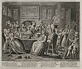The rake carouses in a tavern full of prostitutes. Engraving Wellcome V0049180.jpg