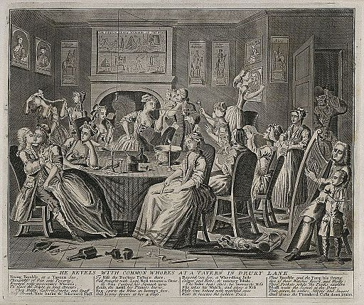 The rake carouses in a tavern full of prostitutes. Engraving Wellcome V0049180