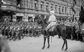 Carl Gustaf Emil Mannerheim - Mannerheim leading the victory parade at the end of the Finnish Civil War in Helsinki, 1918