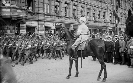 Finnish military leader and statesman Carl Gustaf Mannerheim in 1918 The victory parade of the White Army 1918.jpg
