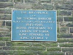 Photo of Thomas Barlow blue plaque