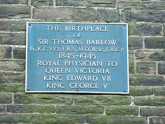 Edgworth - Image: Thomas Barlow birth place