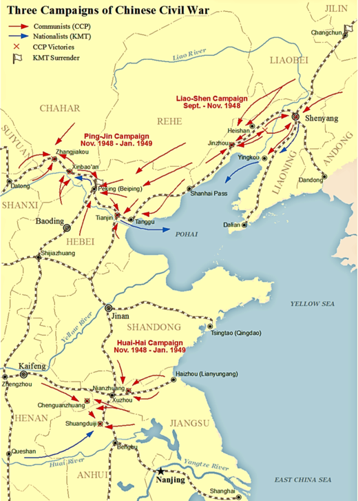 Map showing Three Campaigns during Chinese civil war Three Campaigns of Chinese Civil War.png