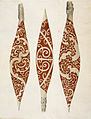 Three paddles from New Zealand - Drawings made in the Countries visited by Captain Cook in his First Voyage (1769), f.71 - BL Add MS 23920.jpg