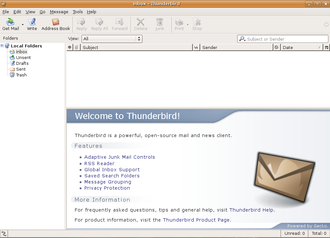 Email client - Mozilla Thunderbird email client user interface on a Linux operating system
