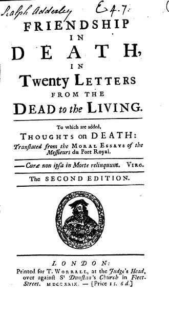 Elizabeth Singer Rowe - Title page for Friendship in Death, second ed. 1729