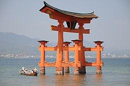 Itsukushima Shrine Torii at low tide