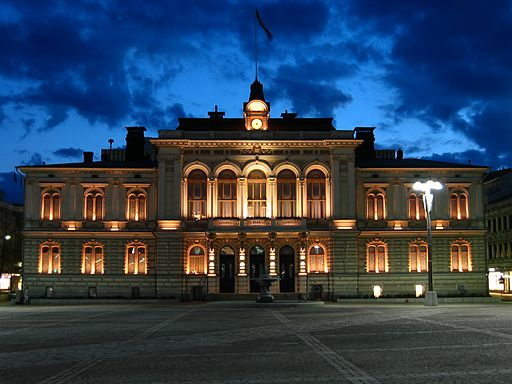 Townhall of Tampere at night