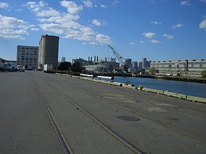 Track 61 (Boston) - Out-of-service tracks on the International Cargo Port pier in 2006