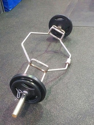 Deadlift - A loaded trap bar. Usually used for deadlifts and shrugs, it may also be used for trap bar jumps.