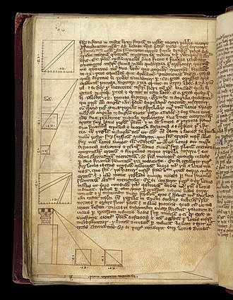 Medieval university - Diagrams, in a volume of treatises on natural science, philosophy, and mathematics. This 1300 manuscript is typical of the sort of book owned by medieval university students.