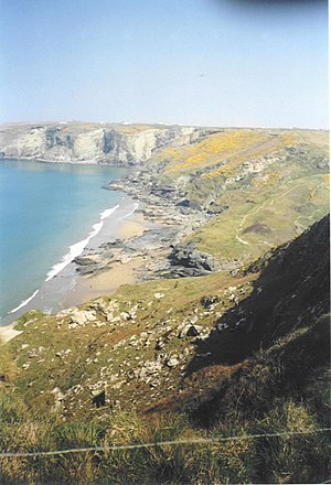 Cornwall film locations - Trebarwith Strand, looking East towards Tintagel