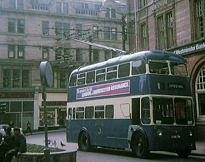 Trolleybuses in Bradford - A trolleybus in Bradford's city centre