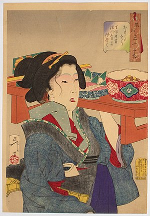 """Tsukioka Yoshitoshi (1839 - 1892) """"Lookin..."""