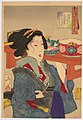 Tsukioka Yoshitoshi - Looking Weighed-down- The Appearance of a Waitress at Fukagawa in the Tempo Era.jpg