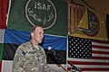 U.S. Army Lt. Col. Michael A. Tougher III, the commander of Task Force Guam, 1st Battalion, 294th Infantry Regiment, Guam Army National Guard, gives his remarks during a casing ceremony at Kabul International 131226-Z-WM549-006.jpg