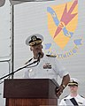U.S. Navy Capt. William Triplett, the commander of Destroyer Squadron (DESRON) 9, speaks during the DESRON 9 change of command ceremony aboard the guided missile frigate USS Ford (FFG 54) Aug. 1, 2013 130801-N-MM360-123.jpg