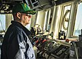 U.S. Navy Cmdr. Charles Hampton, the executive officer of the guided missile destroyer USS Donald Cook (DDG 75), mans the bridge while underway in the Mediterranean Sea March 26, 2014 140326-N-KE519-002.jpg