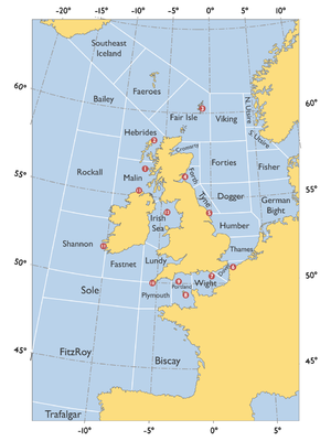 Shipping Forecast - Map of Sea Areas and Coastal Weather Stations referred to in the Shipping Forecast.