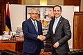 UNODC Regional Representative Amado Philip de Andres with Prime Minister Pravind Jugnauth agreed on a common strategy to counter maritime crime in the Indian Ocean Region in 2018.jpg