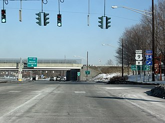 Interstate 84 in New York - Exits for I-84 along US 9 in Fishkill