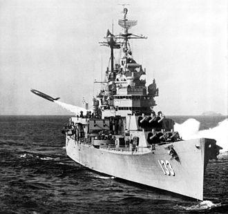 USS Toledo (CA-133) - Toledo launching a SSM-N-8 Regulus cruise missile.